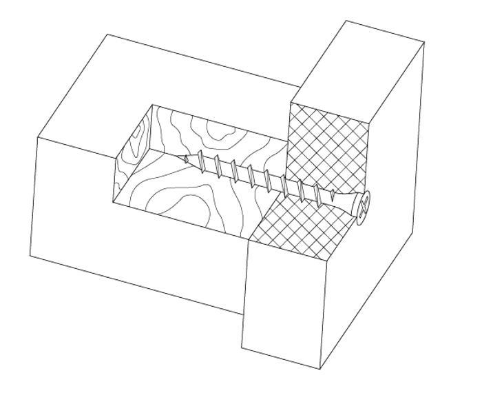 схематический рисунок установленного самореза ГД